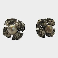 Miriam Haskell Early Mark Faux Pearl Clip On Earrings