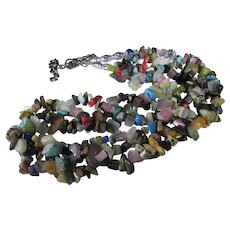 Vintage Tumbled Gem and Mineral Necklace With Sterling Silver Findings