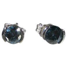 14 Karat White Gold Blue Diamonds for Pierced Ears