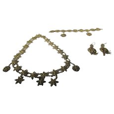 Victorian Coiled Brass Set With Matching Necklace and Bracelet and Earrings