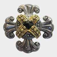 Vintage Multi Tone Maltese Cross Pin Combine Silver Tone and Goldtone Accent