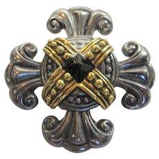 Vintage Multi Tone Maltese Cross Pin Combine Silver Tone and Goldtone Accent