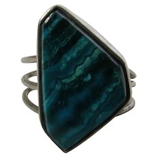 Sterling  Silver Malachite Ring With Open Back for Easy Sizing