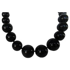 Vintage Big Bold Black Bead Adjustable Necklace