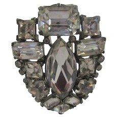 Eisenberg Original Dress Clip  Pin In Clear Swarovski Crystals