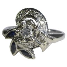 14 Karat White Gold Diamond Ring With Sapphire Accents