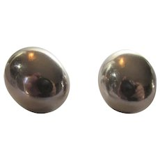 Sterling Silver Mexican Clip On Domed Ovals