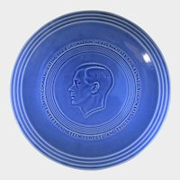 King Edward VIII Commemorative Plate Dated  May 12th, 1937 in Blue Rare