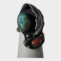 Sterling Silver Native American Ring With Natural Turquoise and Red Coral