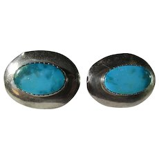 Sterling Silver Clip On Earrings With Large Turquoise Centers