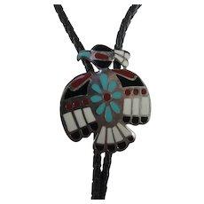 Vintage Native American Enamelled Silver Tone Bolo Tie Thunderbird Symbol