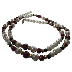 Vintage Opera Length Faux Pearls With Red and Black Beads and Goldtone Findings