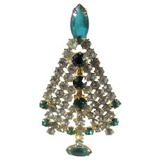 Vintage Christmas Tree Pin In Green and Clear Crystals