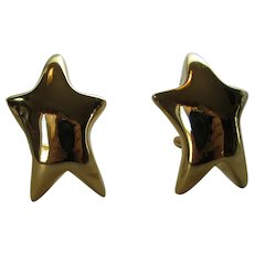 Vintage Goldtone Clip On Star Shape Earrings