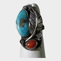 Native American Ring with Turquoise and Red Coral and Feather