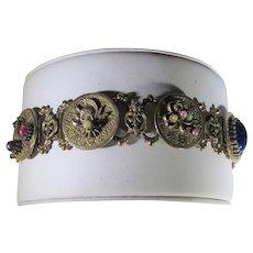 Vintage Goldtone Bracelet with Four Unique Charms