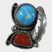 Native American Sterling Silver Ring with Turquoise, Red Coral and Feather