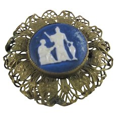 Vintage Brass Filagree Pin With Grecian Themed Hard Stone Cameo