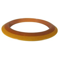 Bakelite Two Tone Applejuice and Orange Tapered Bangle