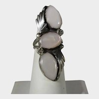 Native American Navajo Artist R. Nieto Sterling Silver Rose Quartz Ring