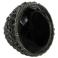Vintage 1980's Costume Ring with Faux Onyx and Marcasite in Silver Tone.