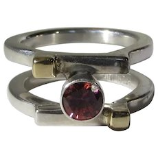 Sterling SIlver and 14 Karat Yellow Gold Garnet Ring