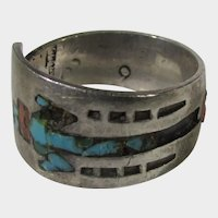 Native American Sterling Silver Ring With Inlaid Turquoise and Red Coral Stylized Figure