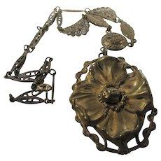 Vintage Nouveau Goldtone Necklace in Original Patina