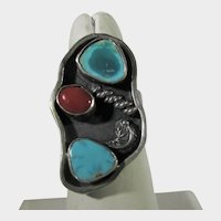 Native American Ring with  Two Turquoise and One Red Coral Stones