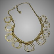 Vintage Mid-Century Goldtone Necklace and Matching Earrings