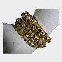 Mid Century Modern Goldtone Link Bracelet Signed BSK