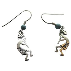 Native American Sterling Silver Kokopelli With Turquoise Beads