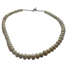 Freshwater Pearl Necklace With Silver Tone Toggle Clasp
