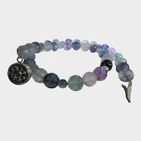 Gemstone Flourite Necklace Beads With Alternating Color and Sterling Clasp