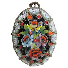 Micro Mosaic Pendant Circa 1900 In Floral Pattern