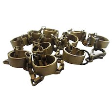 Vintage Industrial Style Chic Necklace of Brass Color Rings