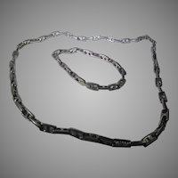 Vintage Stainless Steel Matching Link Necklace and Bracelet Set