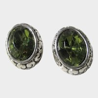 Vintage Silver Tone Pierced Earrings With Faux Peridot Center