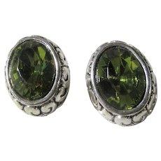 Vintage Silver Tone Pierced Earrings With Faux Peridot Center