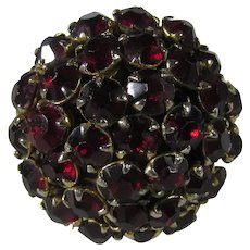 Vintage Costume Adjustable Costume Ring With a Bouquet of Faux Garnets