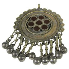 Vintage Tribal Pendant With Inlaid Coral and Ten Tiny Hanging Balls