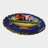 Micro Mosaic Pin Circa 1900 In Goldtone Brass Floral Urn Motif