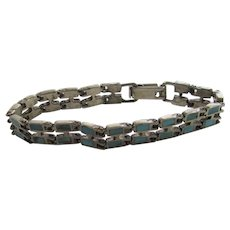 Sterling Silver Bracelet With Inlaid Turquoise