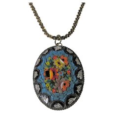 Micro Mosaic Pendant Circa 1900 In Floral Pattern on a Goldtone Chain
