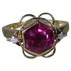 14 Karat Yellow Gold Pink Sapphire Ring With White Gold Accent