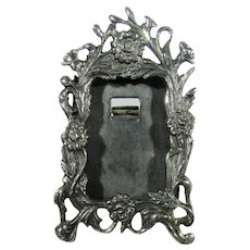 Sterling Silver Mini Ornate Portrait Frame In Floral Motif