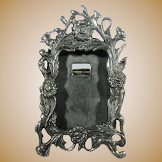 Sterling Silver Mini Ornate Portrait Frame In Floral Motif