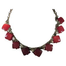 Coro Mid Century Red Thermoset Adjustable Necklace
