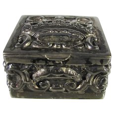 Sterling Silver Hinged Box With Lots of Repouse Work