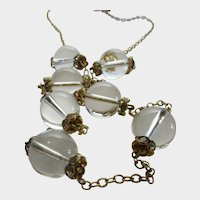 Vintage J. Crew Crystal Orbed Necklace with Crystal Rondelles